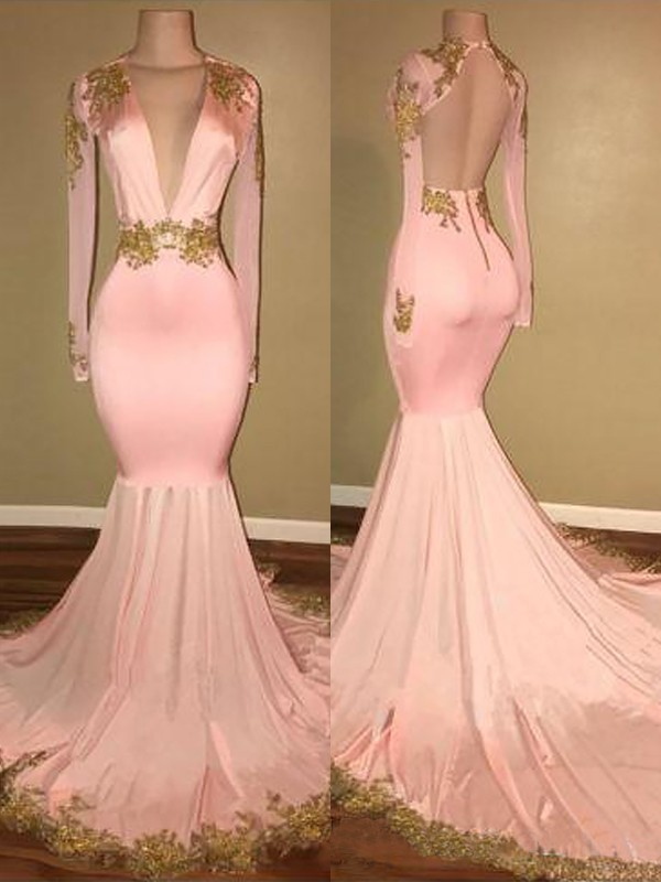 7fe0f751070 Mermaid V-neck Sweep Brush Train Silk like Satin Applique Prom Dresses