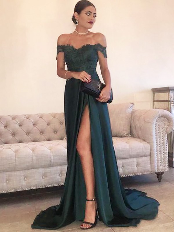b9d6041f7b1 A-Line Off-the-Shoulder Sweep/Brush Train Lace Satin Prom Dresses ...