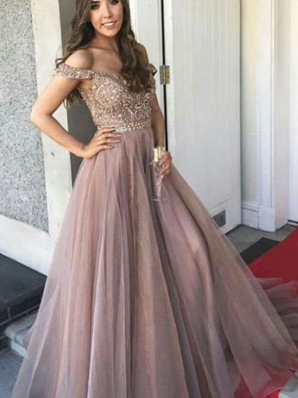 d8f5b101dfb A-Line Off-the-Shoulder Floor-Length Tulle Beading Prom Dresses ...