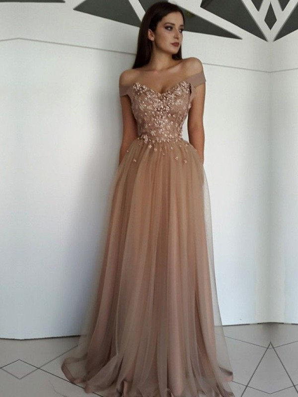 351a0c50620 A-Line Brown Floor-Length Applique Tulle Prom Dresses - FabMiss