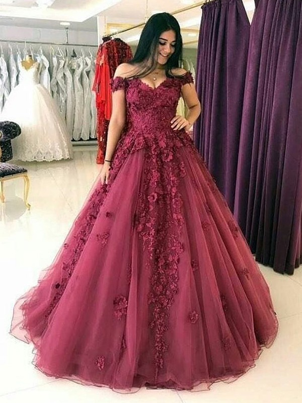 912a2914f4a4 Ball Gown Off-the-Shoulder Long Burgundy Tulle Prom Dresses - FabMiss