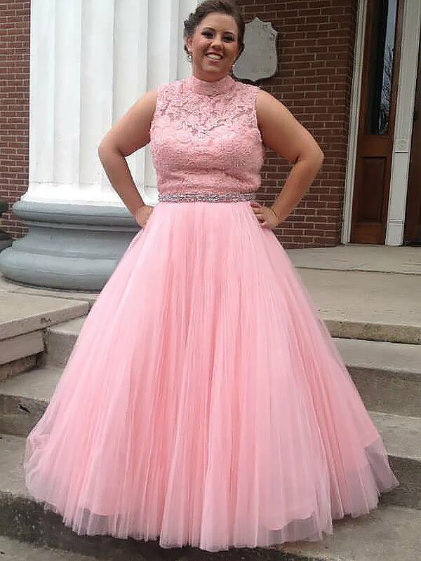 High Neck Tulle Applique Floor-Length Plus Size Ball Gown Prom Dresses