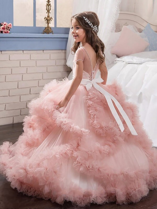 49996bd44 ... promo code for ball gown jewel short sleeves crystal floor length tulle flower  girl dresses 131c7