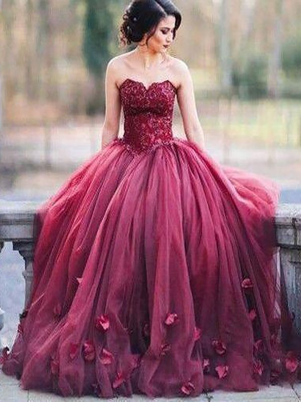 48078049b3a Sweetheart Applique Floor-Length Tulle Ball Gown Prom Dresses - FabMiss