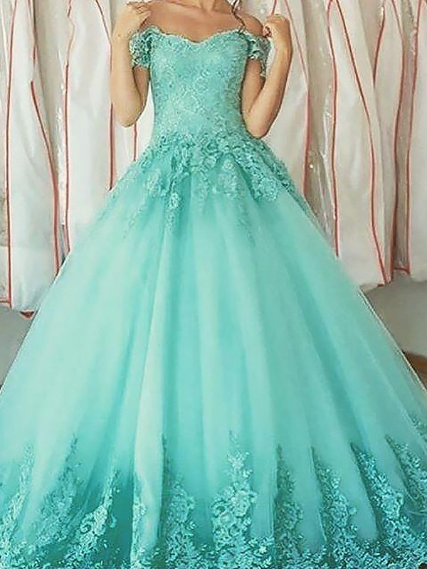 2c7b7a342e3a Ball Gown Off-the-Shoulder Applique Floor-Length Tulle Prom Dresses ...