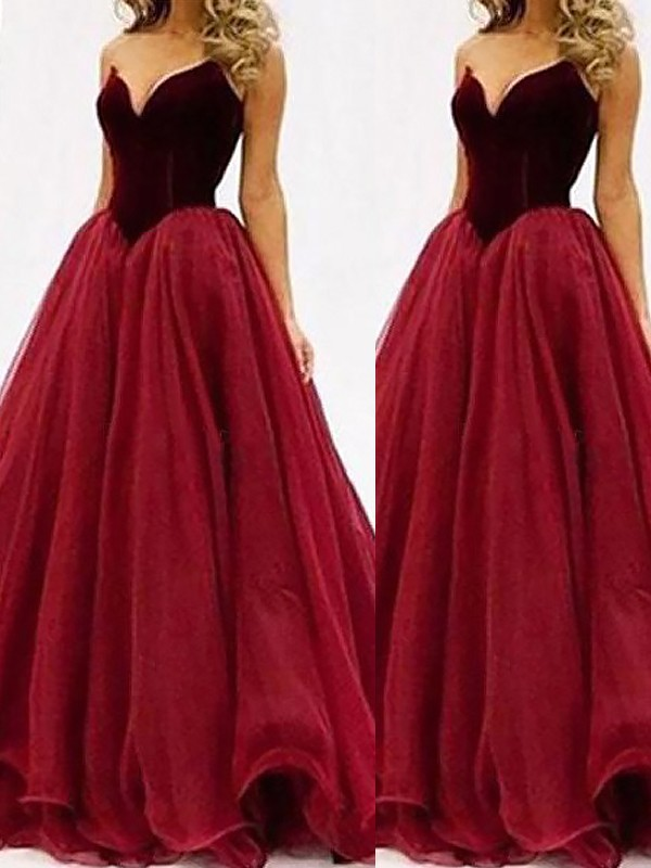 Sweetheart Tulle Floor Length Ball Gown Prom Dresses Fabmiss