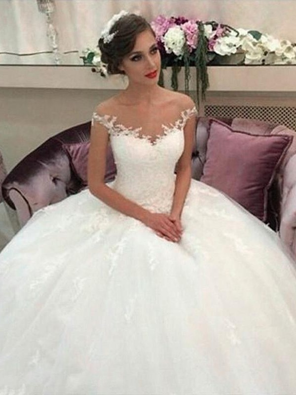 52ce437211 Off-the-Shoulder Court Train Tulle Ball Gown Wedding Dresses - FabMiss