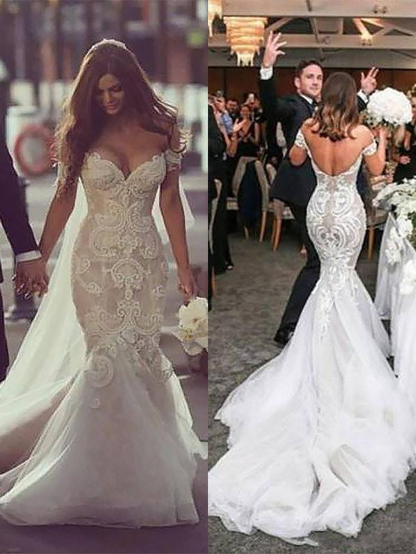 d52251abf1564 ... Trumpet/Mermaid Chapel Train Off-the-Shoulder Tulle Sleeveless Wedding  Dresses