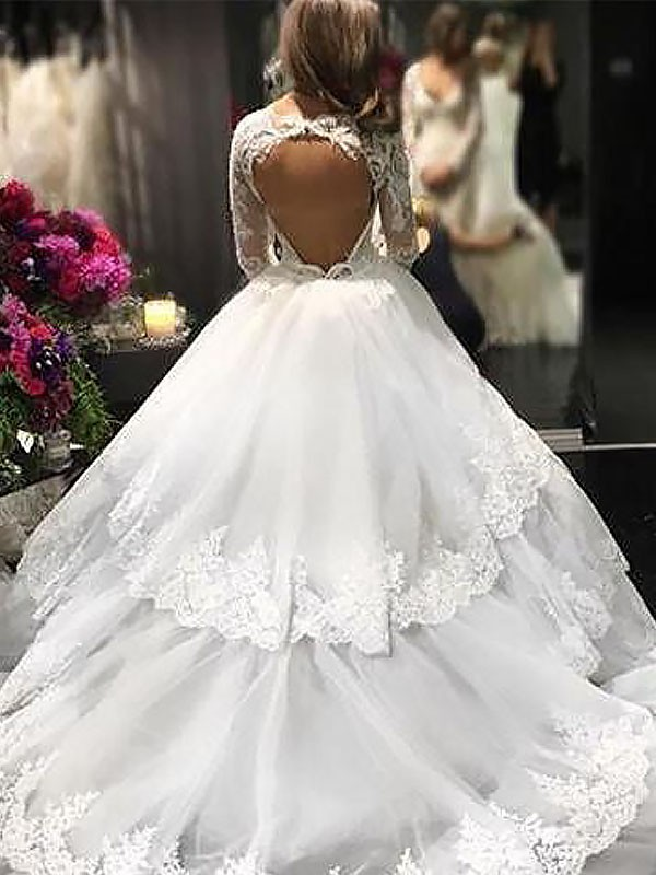 2d883a74f675 Ball Gown V-neck Lace Tulle Long Sleeves Court Train Wedding Dresses