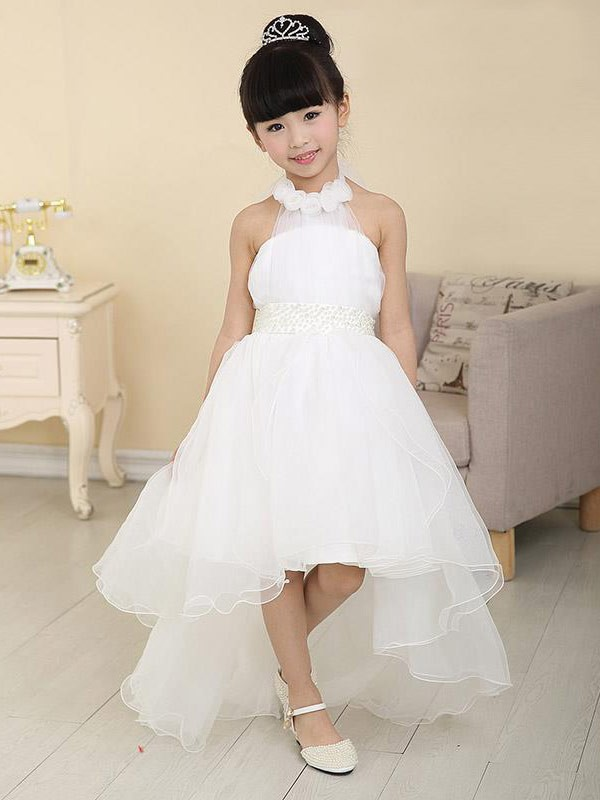 ac6a7a40851 A-Line High Neck Beading High Low Organza Flower Girl Dresses - FabMiss