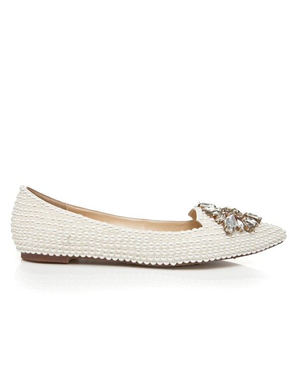f93a1ece71b196 Latest Women s Patent Leather Flat Heel Closed Toe With Pearl Rhinestone  Casual Flat Shoes - FabMiss