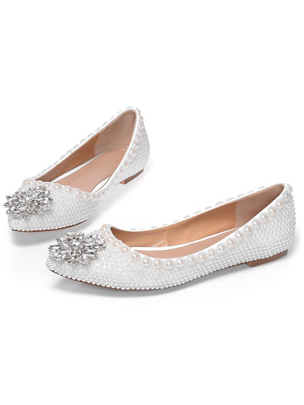 61d7570fa2e375 Latest Women s Patent Leather Closed Toe Flat Heel With Pearl Rhinestone  Casual Flat Shoes - FabMiss