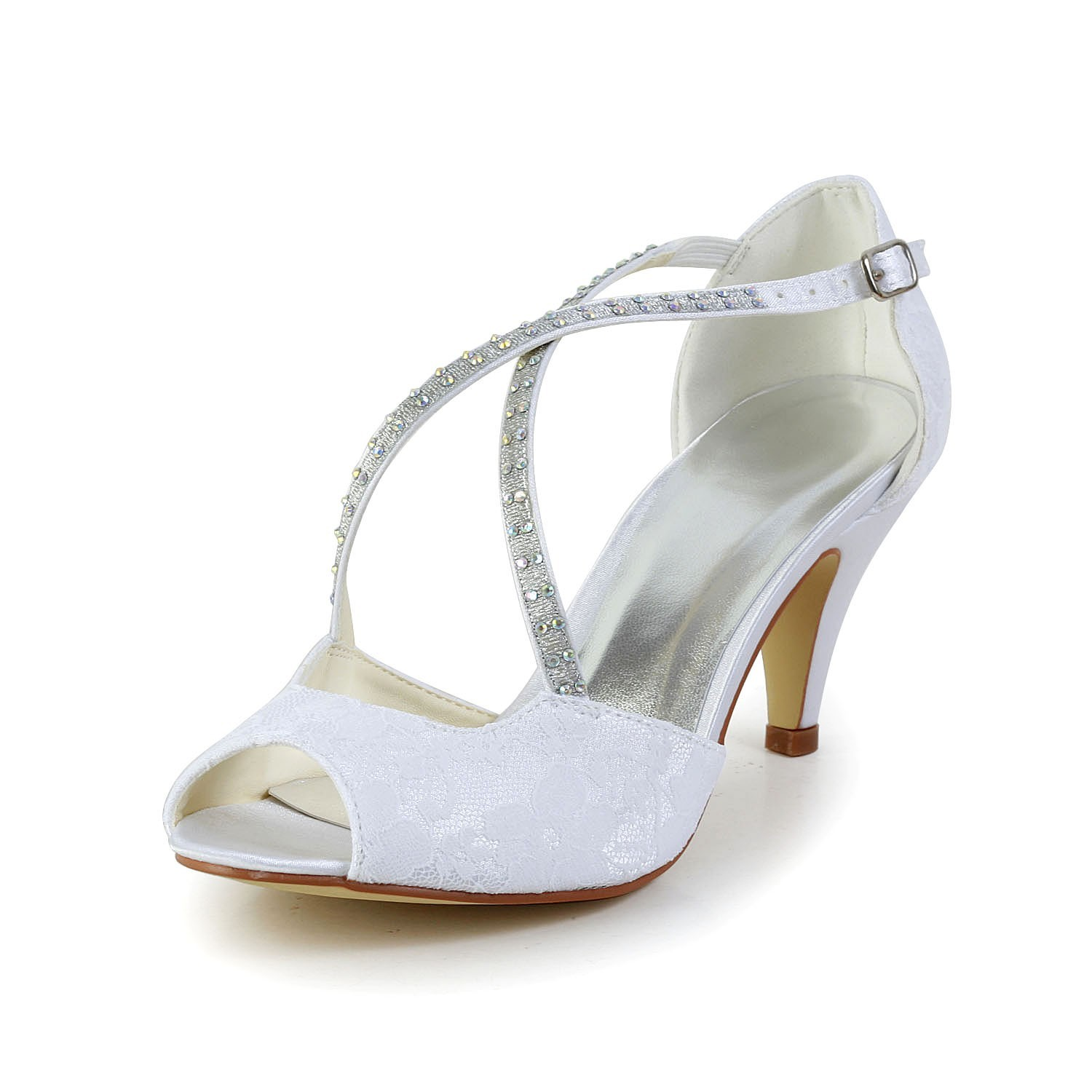 a1567299d3 Latest Women's Satin Cone Heel Peep Toe Sandals White Wedding Shoes With  Rhinestone Buckle