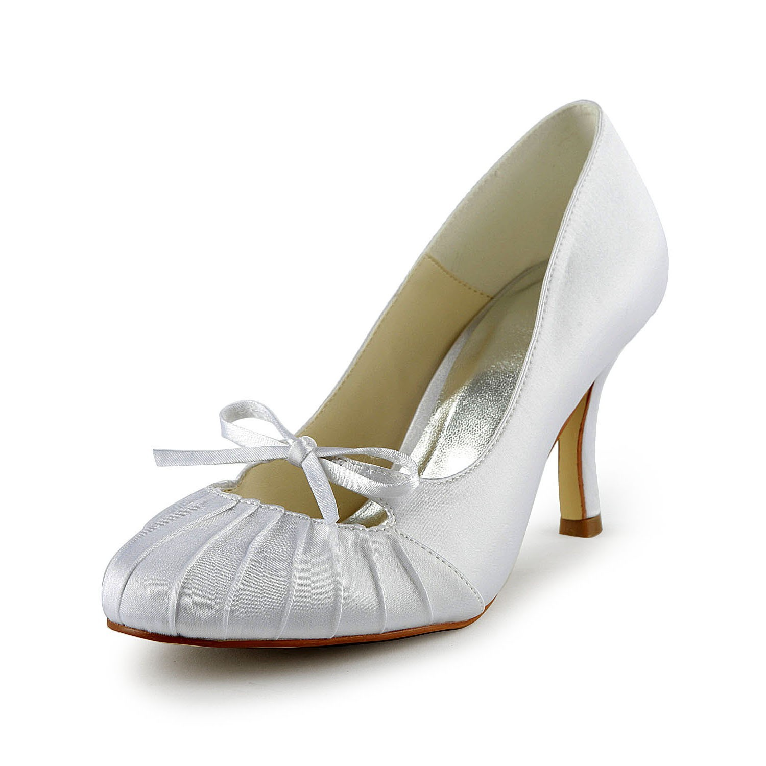 18750b9546d Latest Women s Satin Stiletto Heel Closed Toe Pumps White Wedding Shoes  With Bowknot Ruched