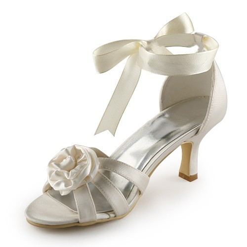 28149bddff0 Latest Women s Satin Stiletto Heel Sandals Ivory Wedding Shoes With Satin  Flower