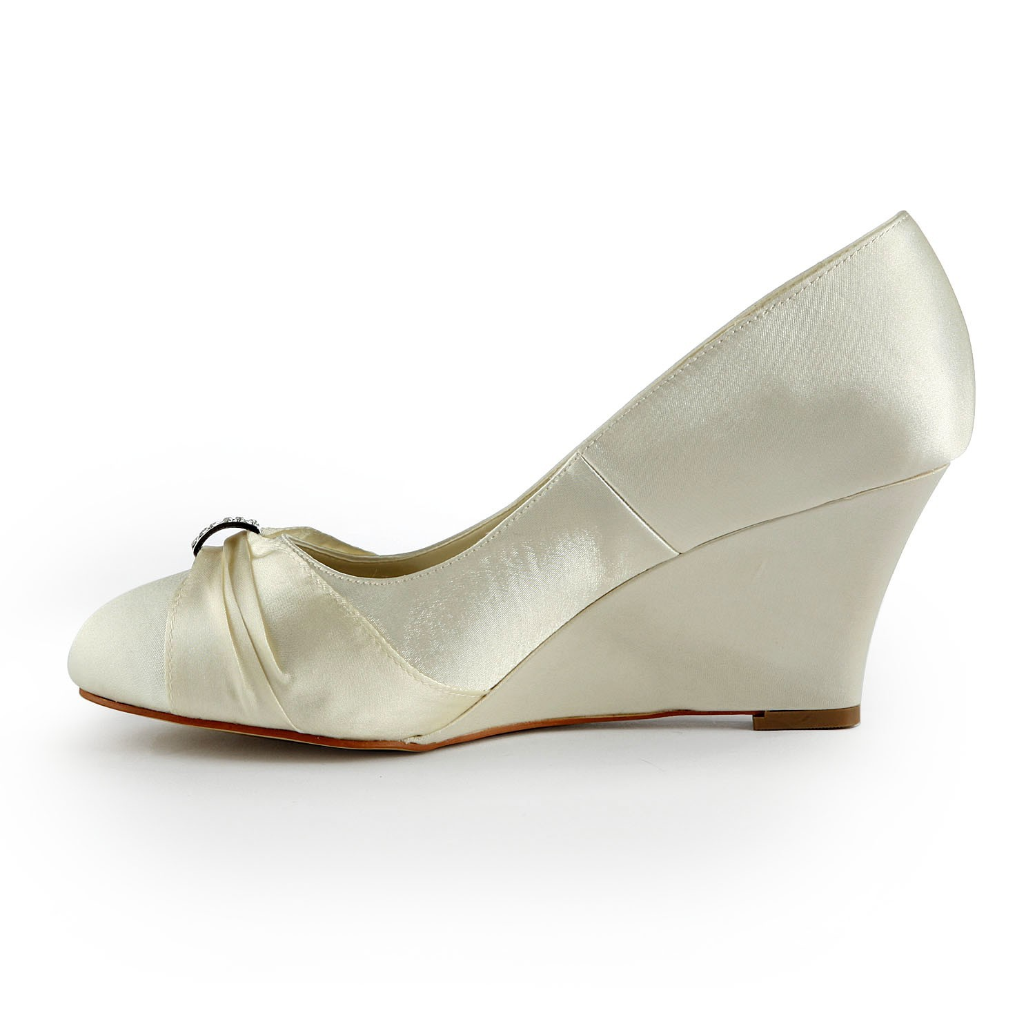 d7c60db25f0 Latest Women s Satin Wedge Heel Wedges With Rhinestone Ivory Wedding Shoes  - FabMiss