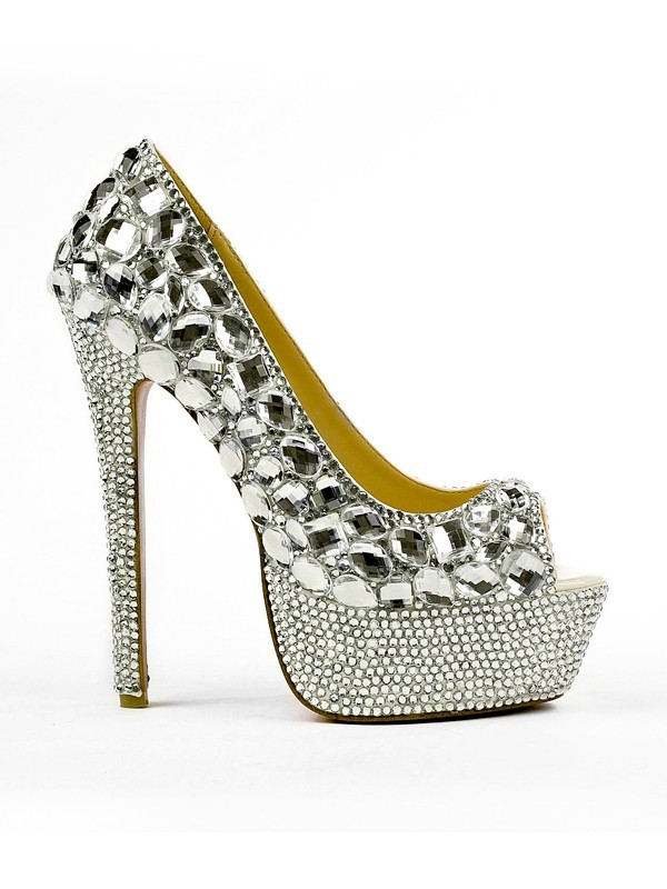 fdcc2bbc221 Latest Women s Patent Leather Peep Toe Stiletto Heel Platform With Rhinestone  High Heels - FabMiss