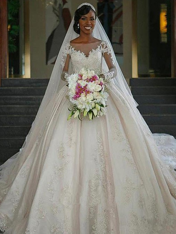 64d48d143b31 Ball Gown Bateau Long Sleeves Sweep/Brush Train Applique Satin Wedding  Dresses