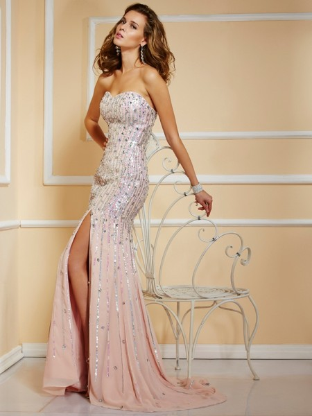 A-Line Beading Strapless Chiffon Prom Dresses