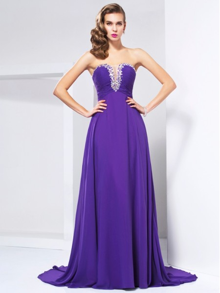 A-Line Sweetheart Beading Ruched Chiffon Prom Dresses