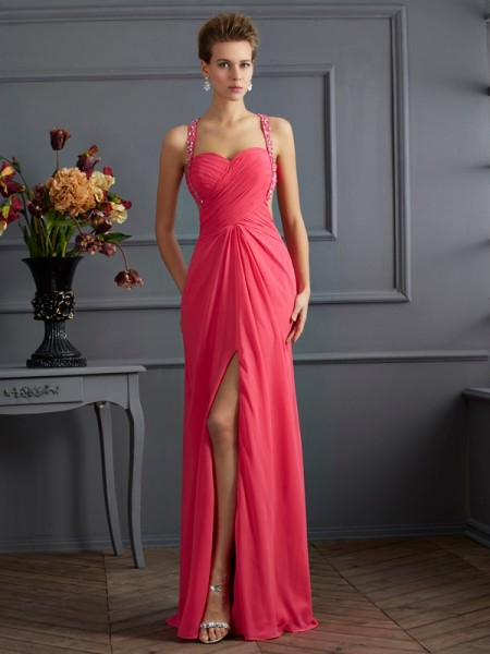 Empire Sweetheart Ruffles Chiffon Prom Dresses