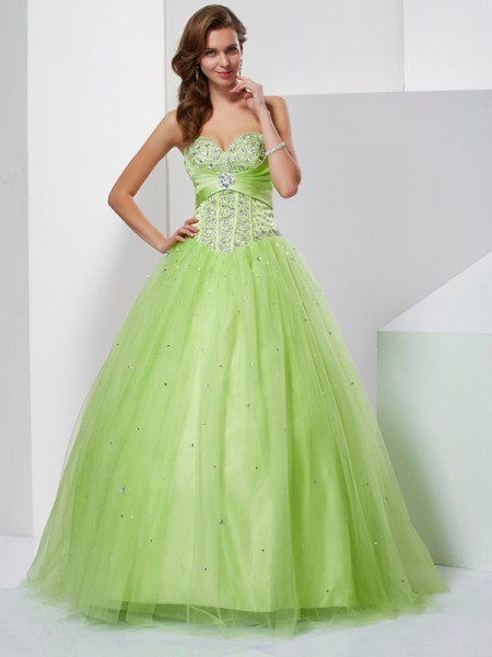 Ball Gown Sweetheart Beading Tulle Quinceanera Dresses