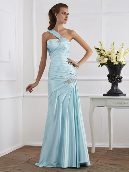Mermaid One-Shoulder Ruched Elastic Woven Satin Prom Dresses