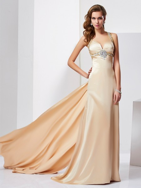 Sheath Halter Ruffles Silk like Satin Prom Dresses