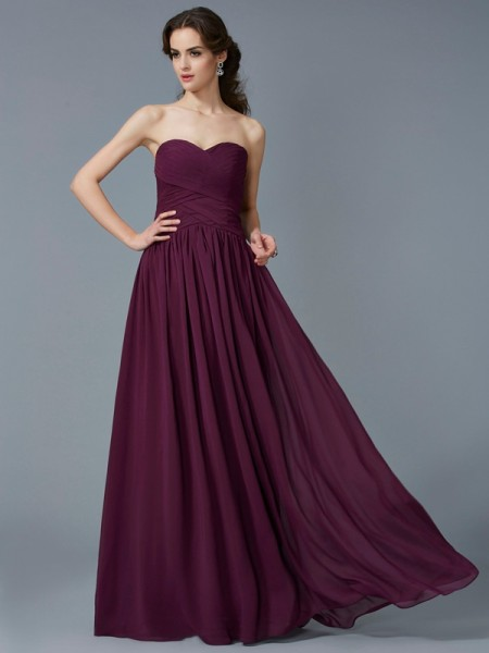 A-Line Sweetheart Pleats Chiffon Prom Dresses