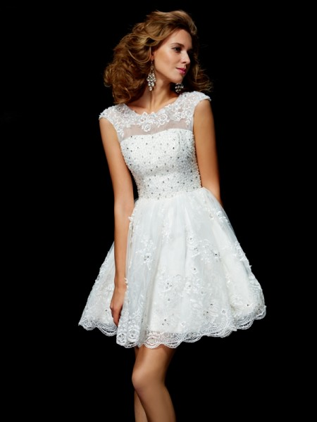 A-Line V-neck Applique Organza Short Homecoming Dresses