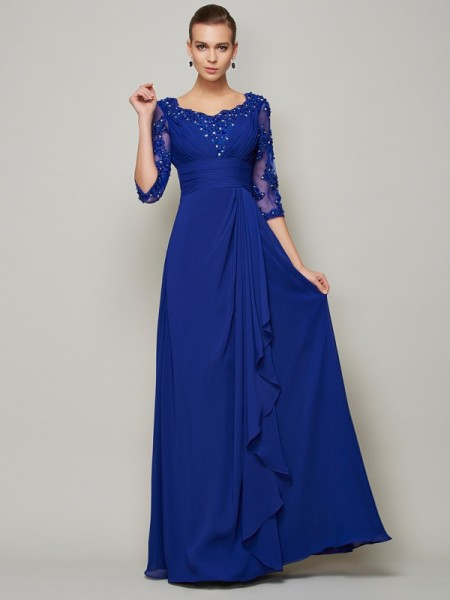 A-Line Scoop Lace Chiffon Mother of the Bride Prom Dresses