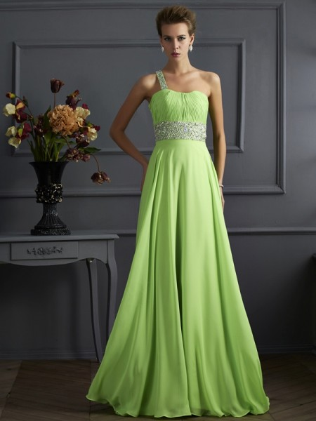 A-Line Beading One-Shoulder Chiffon Prom Dresses