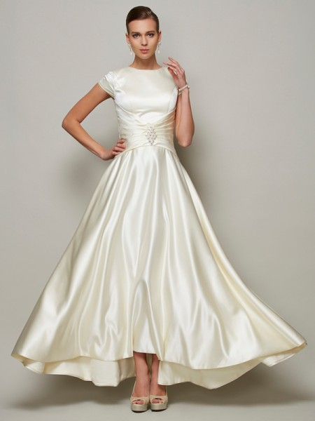 A-Line Scoop Beading Satin Mother of the Bride Dresses