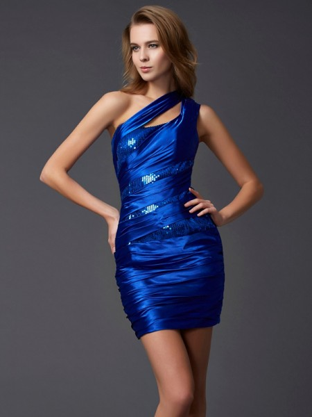 Sheath One-Shoulder Paillette Silk like Satin Short Homecoming Dresses