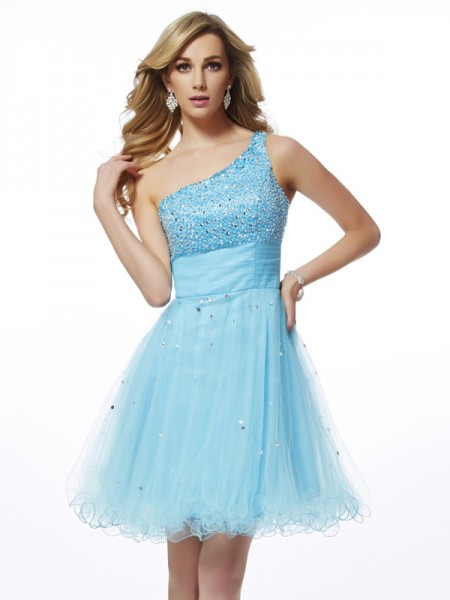 A-Line One-Shoulder Beading Organza Short Homecoming Dresses