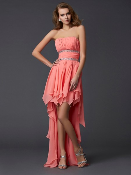 Empire Strapless Ruffles Chiffon High Low Homecoming Dresses