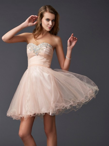 A-Line Sweetheart Short Silk like Satin Homecoming Dresses