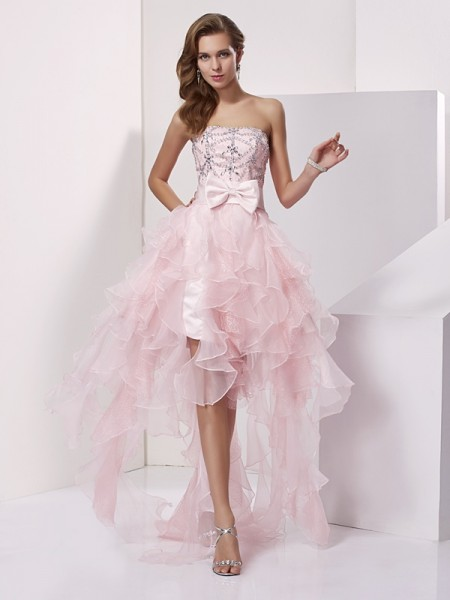 A-Line Strapless Organza Beading High Low Homecoming Prom Dresses