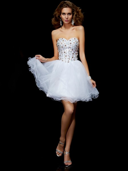 Sheath Sweetheart Crystal Elastic Woven Satin Short Homecoming Dresses