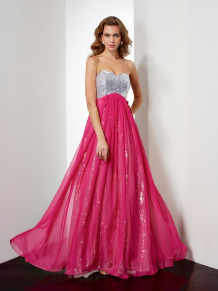 A-Line Chiffon Beading Sweetheart Prom Dresses