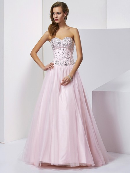Ball Gown Sweetheart Beading Satin Quinceanera Dresses