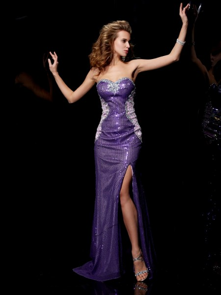Sheath Sweetheart Beading Elastic Woven Satin Prom Dresses