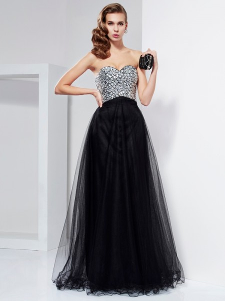 A-Line Sweetheart Beading Crystal Elastic Woven Satin Prom Dresses