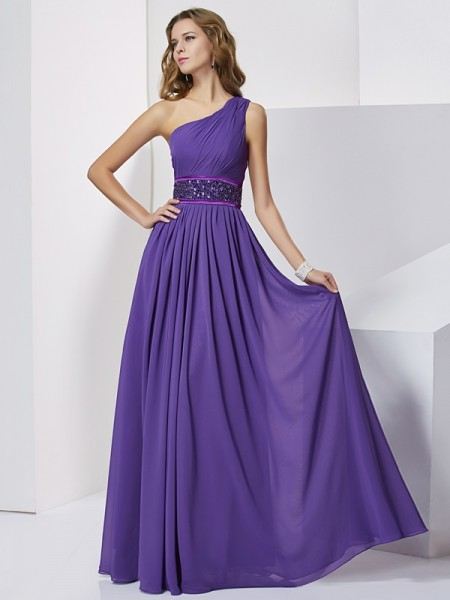 One-Shoulder Beading Empire Chiffon Prom Dresses