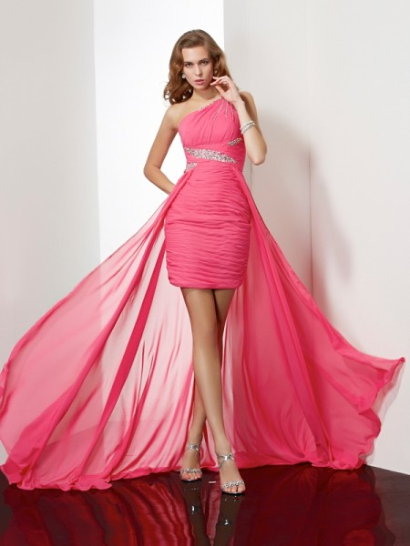 Sheath One-Shoulder Beading Short Chiffon Homecoming Dresses