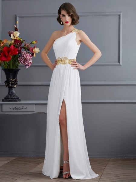 A-Line One-Shoulder Ruched Chiffon Prom Dresses