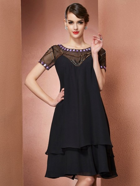 A-Line Chiffon Scoop Beading Short Mother of the Bride Dresses
