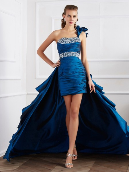 A-Line One-Shoulder Beading High Low Taffeta Prom Dresses