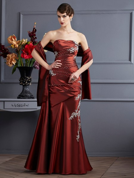 Sheath Strapless Beading Taffeta Prom Dresses