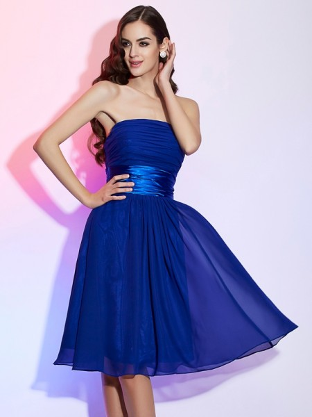 A-Line Strapless Bowknot Short Chiffon Homecoming Dresses